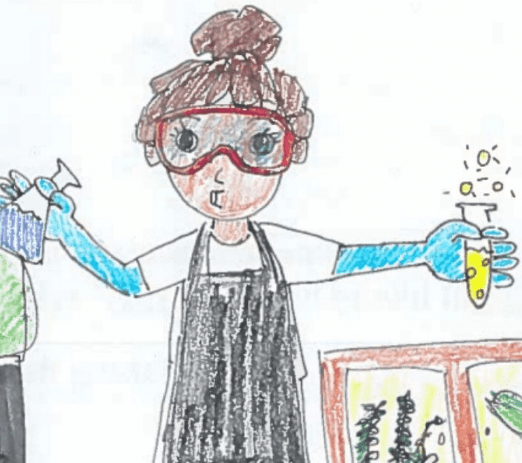 a child's drawing of a scientist