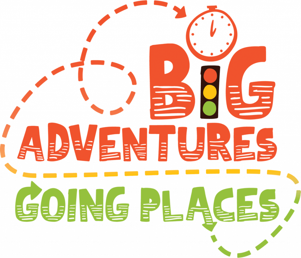 big adventures going places with an arrow logo