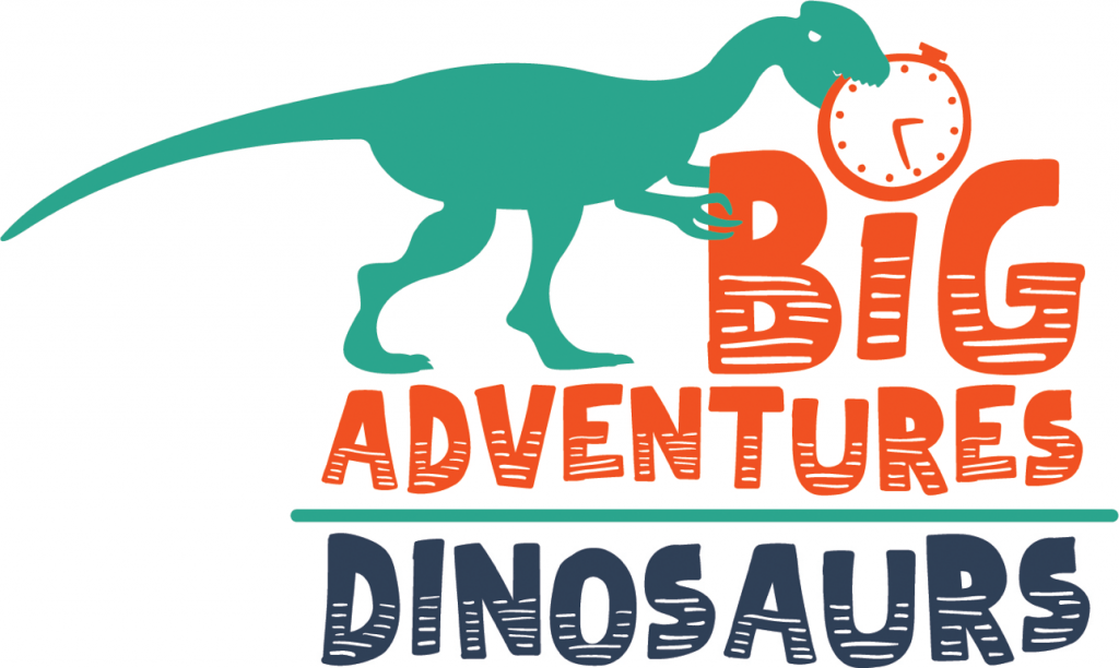 big adventures dinosaurs logo in green and orange
