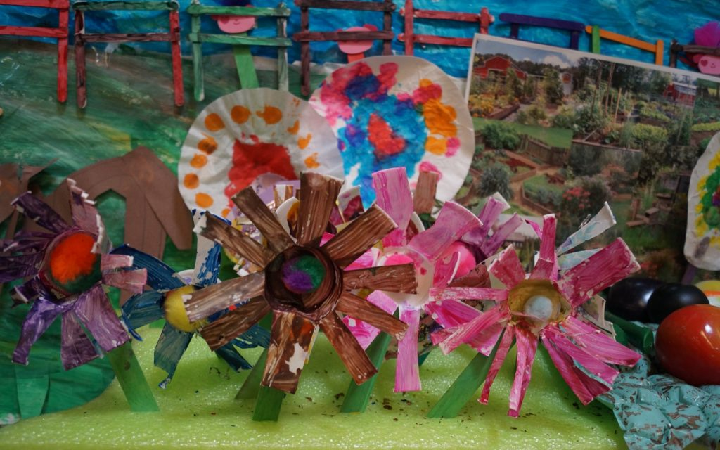 children's arts and crafts, painted flowers