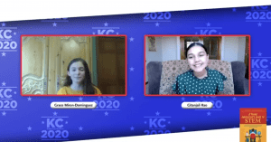 2 young girls talking over video conferencing