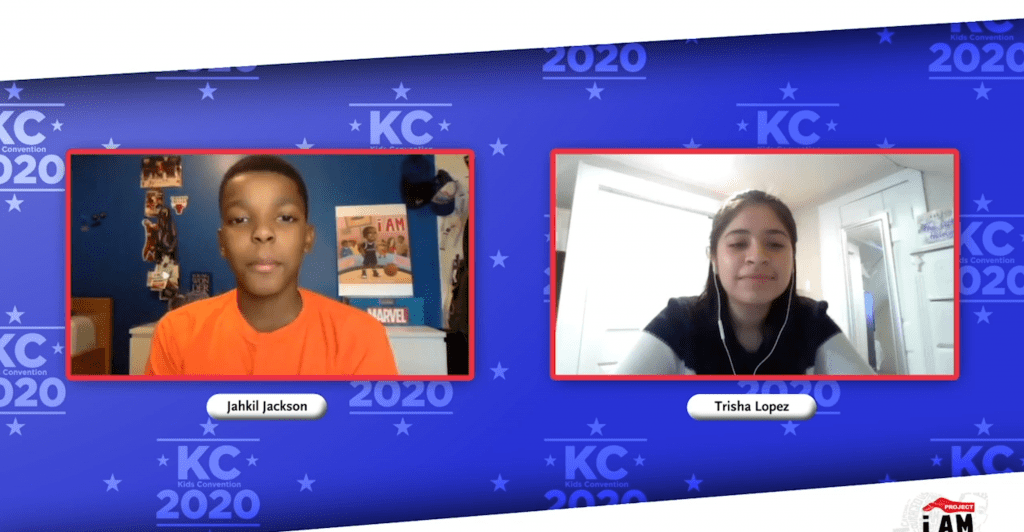 a boy and girl talking over video confrencing