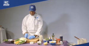 a chef cooking over video conference