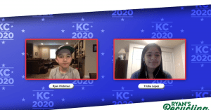 a young boy and girl smiling over video conference