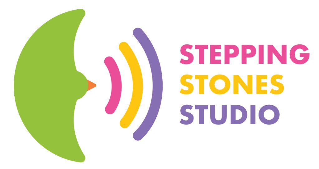 stepping stones logo in pink yellow and purple