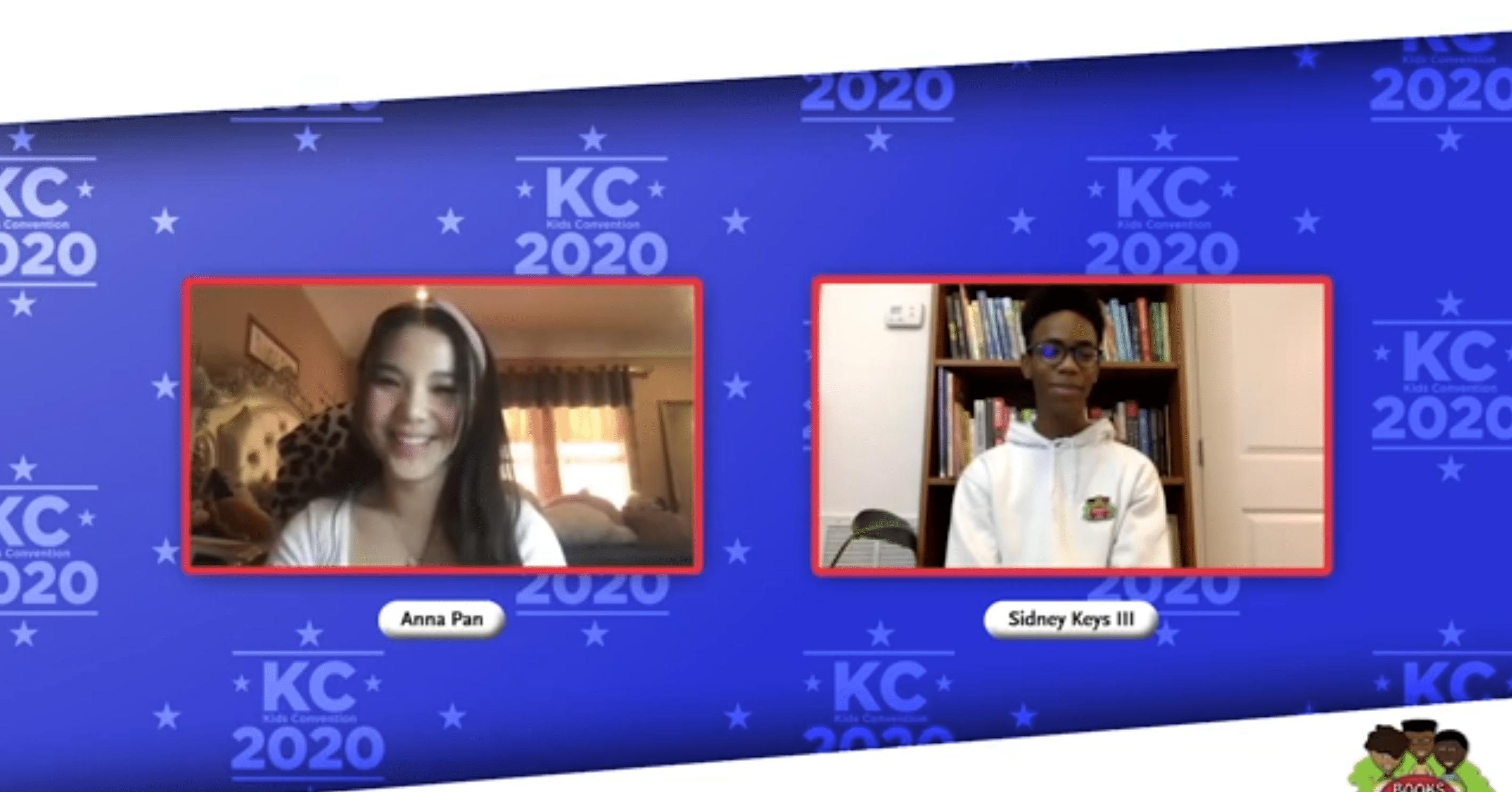 a teenage boy and girl smiling over video conference